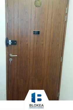 Puerta de seguridad con acabado en nogal